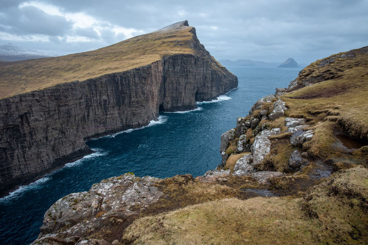Rocky shores of faroe islands
