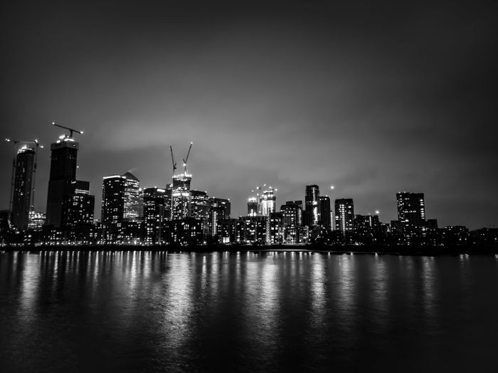 City nightscape in black and white