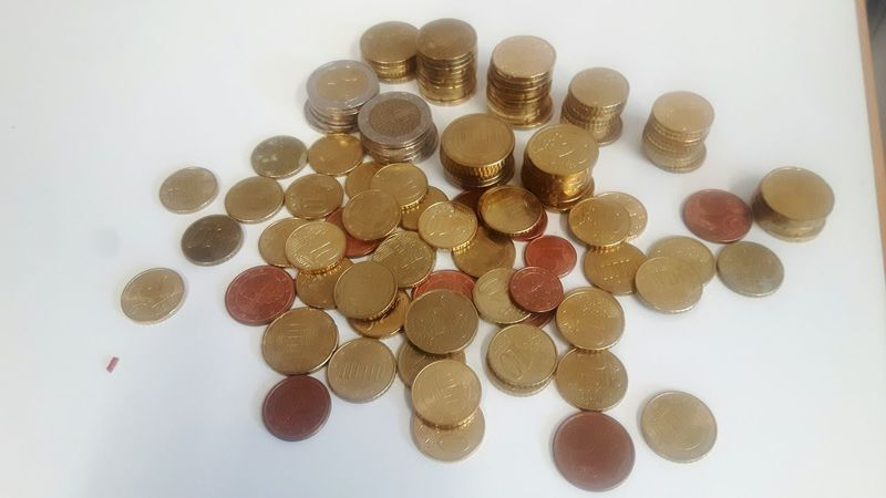 EyeEm Selects High Angle View Large Group Of Objects Business Finance And Industry Finance Savings Coin White Background Coins Euro Coins On The Table Stack Of Coins Home Interior Euro Coins Money No People