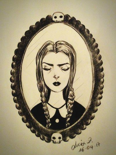 Mercoledí Addams Painting Addamsfamily Addamsmercoledi Addams Black