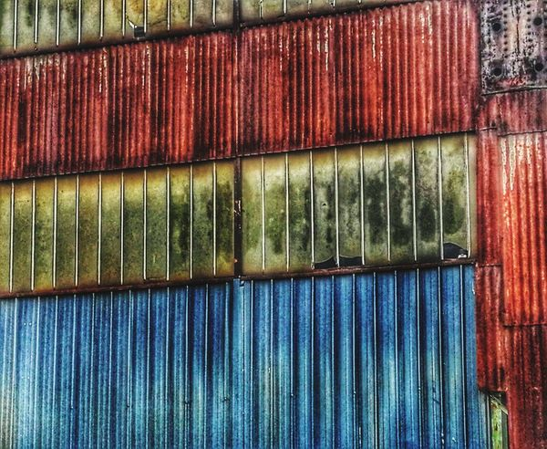 Industrial Building  Backgrounds Full Frame Pattern Day Multi Colored No People Textured  Corrugated Iron Outdoors Close-up The Graphic City