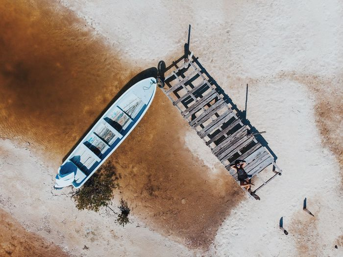 High angle view of boat on shore