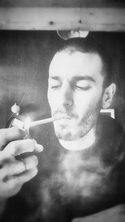Black And White Smoking Grunge Portrait