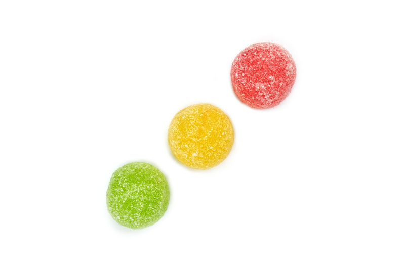Green, yellow and red jellybean candy isolated on white background Candy Childhood Close-up Focus On Foreground Food And Drink Jellybean No People Studio Shot Sweet White Background
