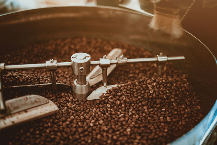 High angle view of coffee beans in grinder
