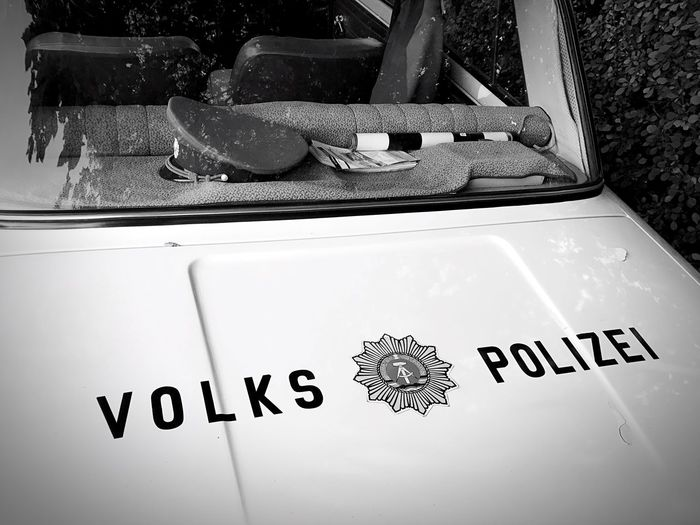 Text Communication No People Day Close-up Outdoors GDR DDR-Relikt DDR Police Goodoldtimes Blackandwhite Photography Blackandwhitephoto