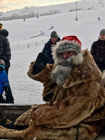 Father Christmas Ski Resort  Ski Holiday Tänndalen North Of Sweden Father Christmas Winter Snow Cold Temperature Warm Clothing Real People Togetherness Outdoors