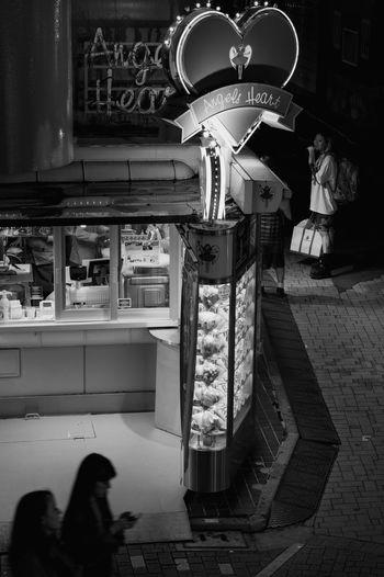 Angels Heart Crepe Shop night scene on Takeshita Street in Harajuku EyeEmNewHere Crepe Japan Monochrome Blackandwhite Streetphotography Harajuku ASIA Tokyo TakeshitaDori Tokyo Indoors  Text Architecture Built Structure Lifestyles Night Store The Street Photographer - 2018 EyeEm Awards