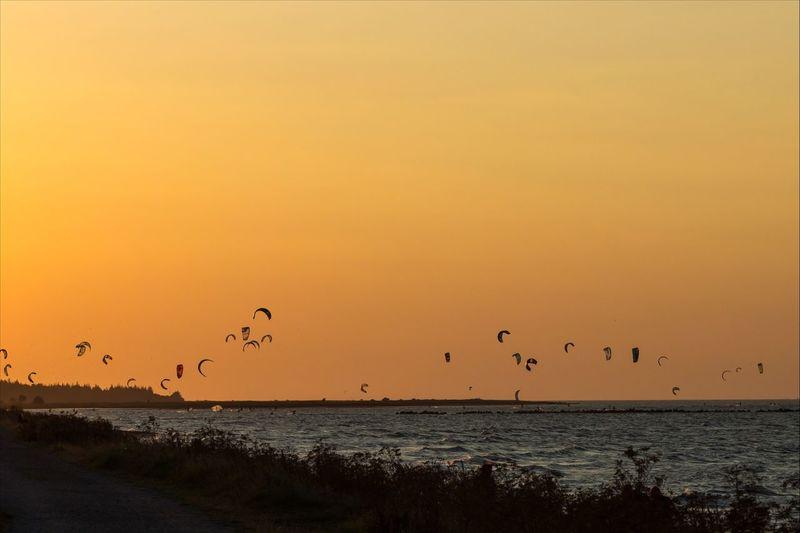 Paragliders flying over sea against orange sky during sunset