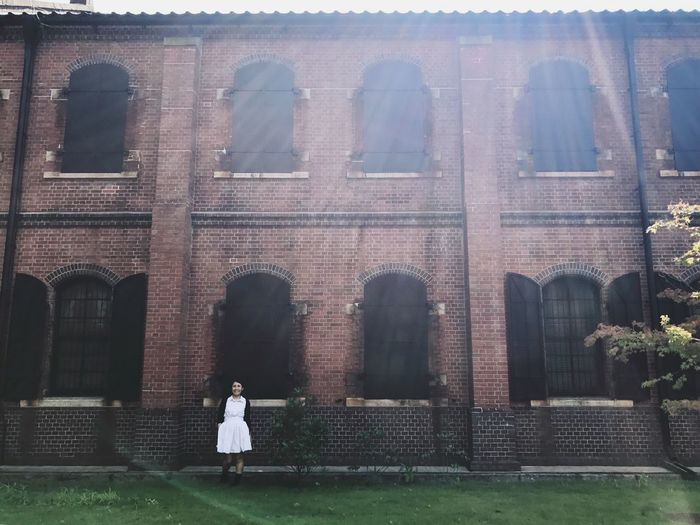 Building Exterior Window Architecture Outdoors Real People Built Structure Day One Person Women Travel Photography Japan Photography Streetphotography History Trip Museum Bricks Holiday