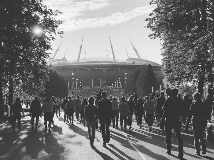 People going to football. The stadium in St. Petersburg. 2.08.2018, Zenit People Sunset Saint Petersburg Stadium Football Crowd Large Group Of People Group Of People Real People Architecture Nature Sky Built Structure City Building Exterior Street Outdoors Day Transportation Lifestyles Tree Men