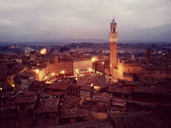 Piazza Del Campo Siena Sunset Tuscany