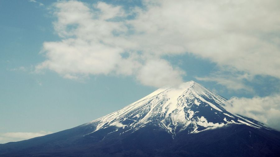 Low Angle View Of Mount Fuji Against Sky