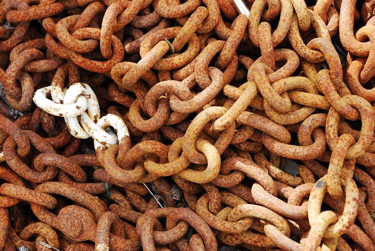 Full frame shot of rusty chain