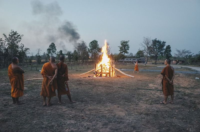 Group of people on bonfire