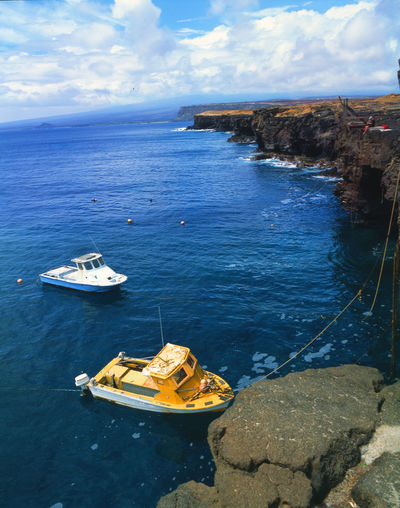 The Southernmost point in the USA Fishing Boats Beauty In Nature High Angle View Horizon Over Water Nautical Vessel No People Ocean Cliff Outdoors Pacific Ocean Sea Southpoint Tranquility Water