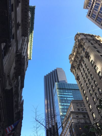 Towering city 5th Avenue, NYC Architecture Building Exterior Built Structure Skyscraper City Tall - High Low Angle View Tower Day Clear Sky Cityscape Outdoors Financial District  Sky Travel Destinations Downtown District Modern Blue No People Urban Skyline