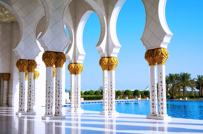 2013 Abudhabi Arab Arabian Arabic Architecture Blue Sky Gorgeous Mosque Place Of Worship Sheikh Zayed Grand Mosque Sky UAE White アブダビ シェイクザイードグランドモスク もずく
