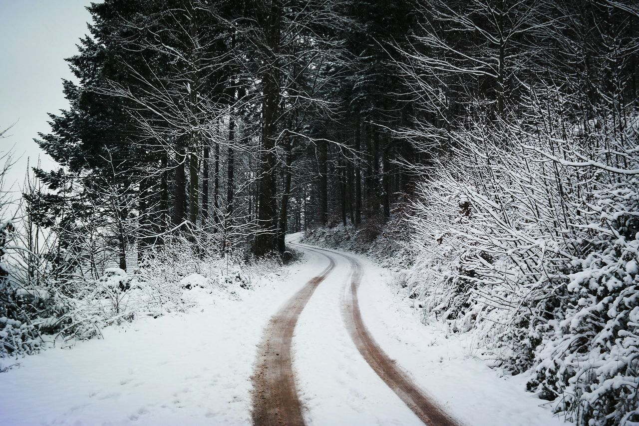 Tire tracks on country road during winter
