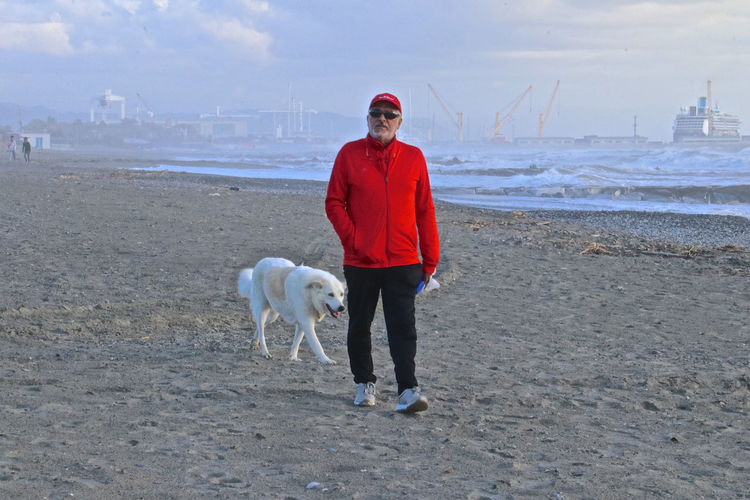 Full length man with dog walking on beach