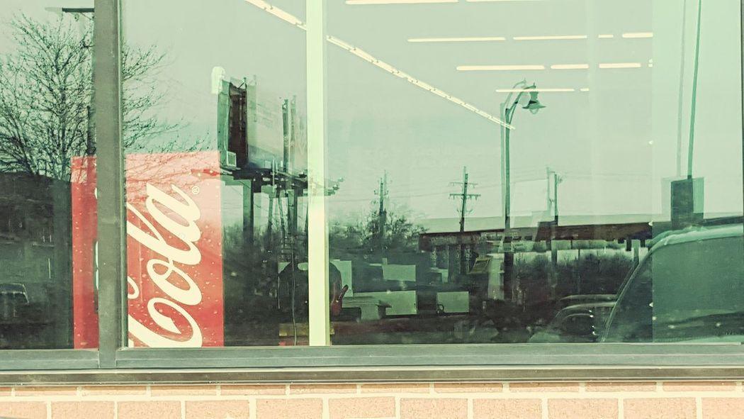 Coca Cola Pop Soda Machine Windows Reflection Sun Light Reflection Store Window Grove City, Oh