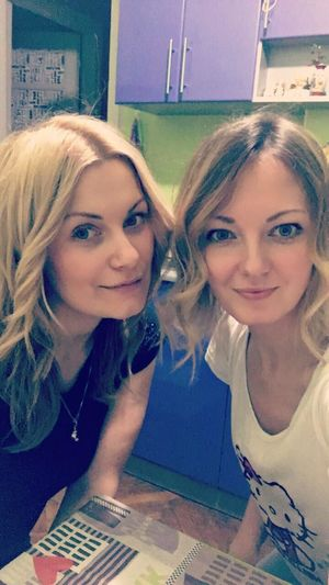 Two People Blond Hair Friendship