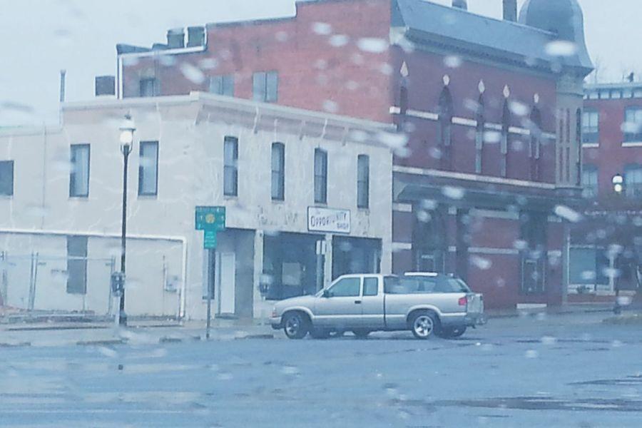 Cold Temperature City Car Day Pickup Truck Window View Rain Drops