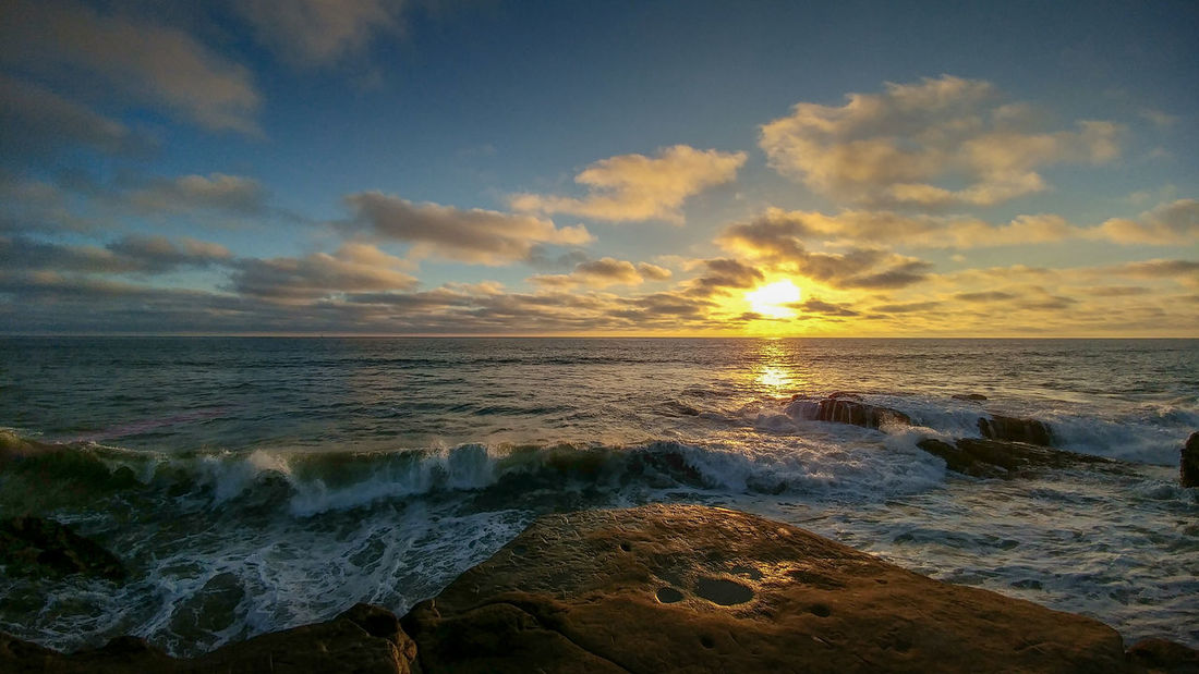 Ocean Beach San Diego Sunset Aquatic Sport Beach Beauty In Nature Cloud - Sky Horizon Horizon Over Water Idyllic Land Motion Nature No People Outdoors Scenics - Nature Sea Sky Sunset Tranquil Scene Tranquility Water Wave