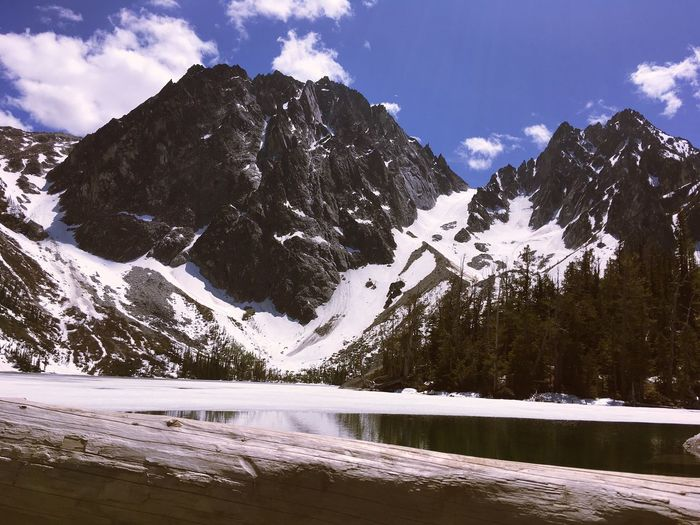 Colchuck Lake Sky Water Scenics - Nature Snow Beauty In Nature Mountain Winter Tranquility Day Cloud - Sky Lake Mountain Range Nature
