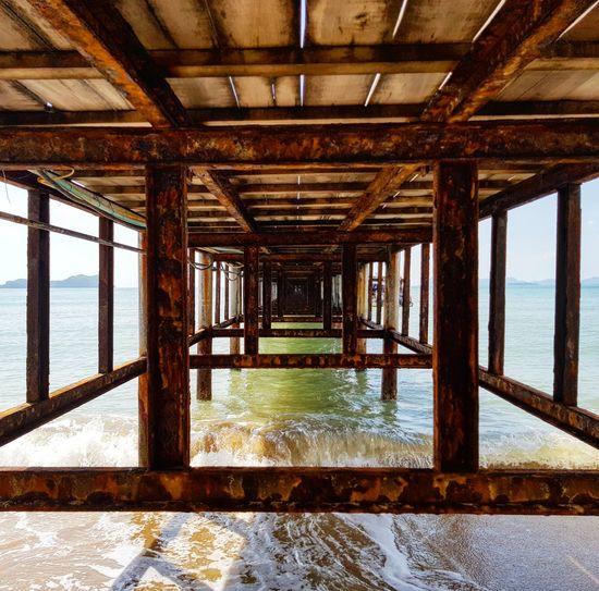 Interior of pier over sea