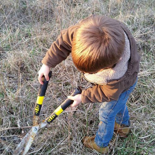 Boy cutting plants on field