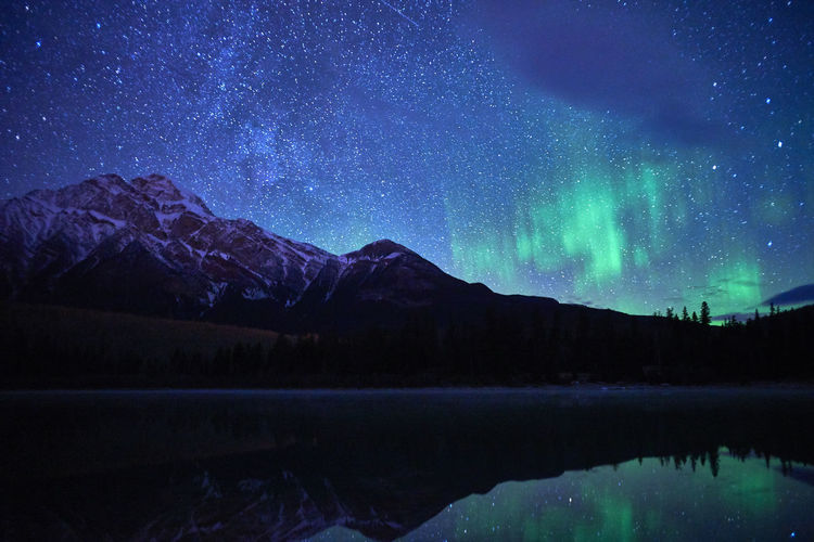 Scenics - Nature Beauty In Nature Tranquil Scene Mountain Tranquility Sky Night Star - Space Lake Space Water Astronomy Idyllic Nature Mountain Range No People Non-urban Scene Galaxy Cold Temperature Snowcapped Mountain Milky Way Stars Northern Lights Aurora Polaris