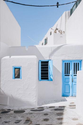 White building against blue sky