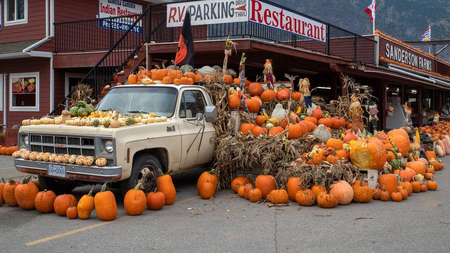 Pumpkins on market stall