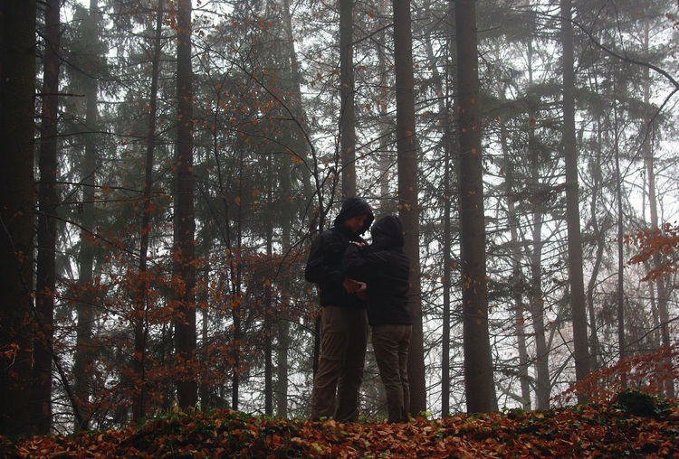 Autumn Autumn Colors Darkness And Light Day Fog Forest Forestwalk Intimacy Lifestyles Love Low Angle View Mist Long Goodbye Nature Outdoors Second Acts People And Places Relationship Miles Away Togetherness Tree Two Is Better Than One Wood TCPM Let's Go. Together.