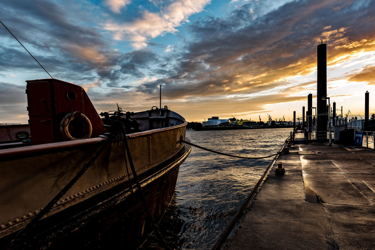 cloud - sky, sky, transportation, nautical vessel, mode of transport, built structure, moored, nature, water, sunset, no people, outdoors, sea, building exterior, architecture, beauty in nature, day
