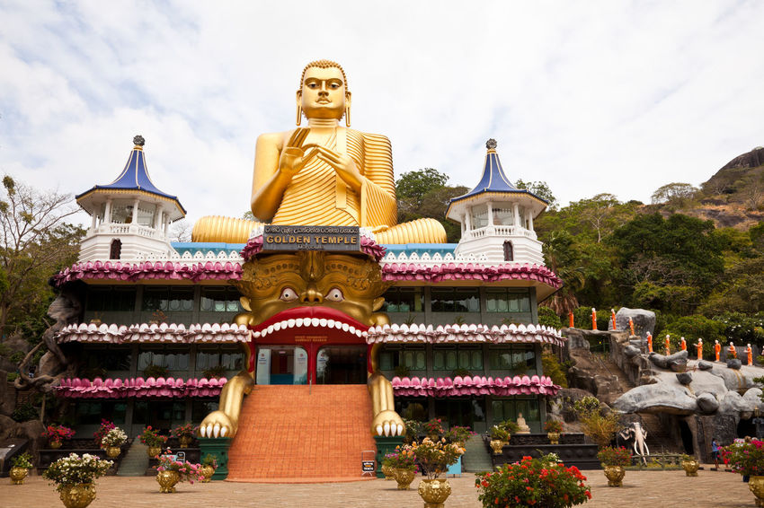 Big golden buddha at Dambulla in Sri Lanka Spirituality Architecture Buddha Statue Buddhism Buddhist Temple Building Exterior Built Structure Day Famous Place Gold Colored Low Angle View Monks No People Outdoors Place Of Worship Religion Sculpture Seated Sky Spirituality Statue Travel Destinations Tree