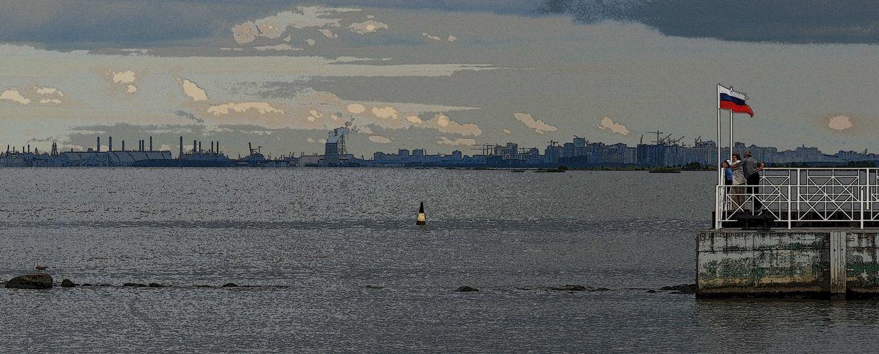 City Skyline Distant Idyllic Panoramic View Russia, St.Petersburg Sea Stylized Waterfront Waving Flag