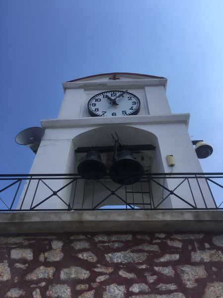 The church bell tower of Agios Nikolaos. (1) Greece Photos Skiathos Low Angle View Architecture Built Structure Clock Tower Church Tower Clock