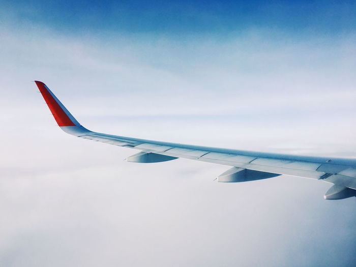 In the sky, shot on iphone6s Sky And Clouds Airplane Aircraft Wing Mode Of Transport Cloudscape Flying Jetlag