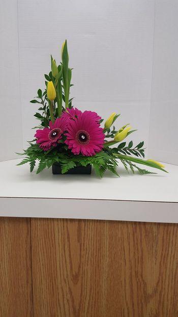 L Shape Floral Design Gerbera Daisy Yellow Tulips Fresh Flowers Flower Arrangement Freshness Fresh Flower