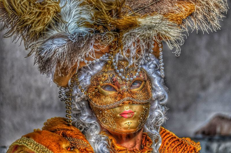 Close-up portrait of person wearing mask