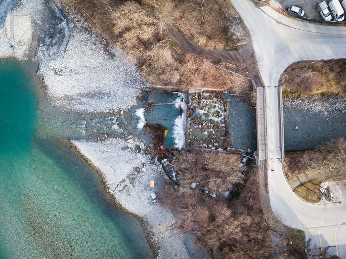 waterfall from a drone view Drone  Rhine Road Winter Cold Temperature Day Mavic No People Outdoors Plessur River Switzerland Water Waterfall