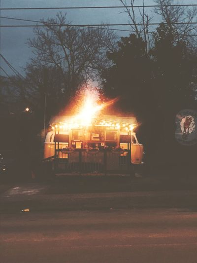 VW bug VW Hot Dog Stand Hot Dog VW Bus Tree No People Outdoors Night Illuminated Sky Flame