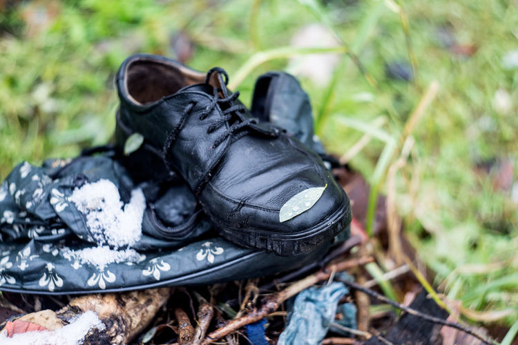 Shoe Focus On Foreground Day Black Color Close-up Pair Outdoors Nature Boot Shoelace Land Plant Clothing Human Foot Leather Personal Accessory