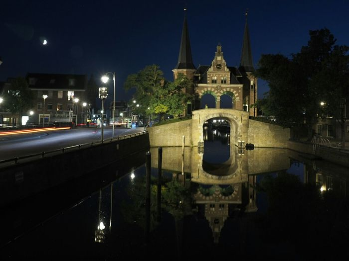 Architecture Night Building Exterior Illuminated Built Structure Reflection Religion Water Sky Place Of Worship Dome Outdoors Standing Water Waterfront History Façade No People Spire  Sneek Netherlands