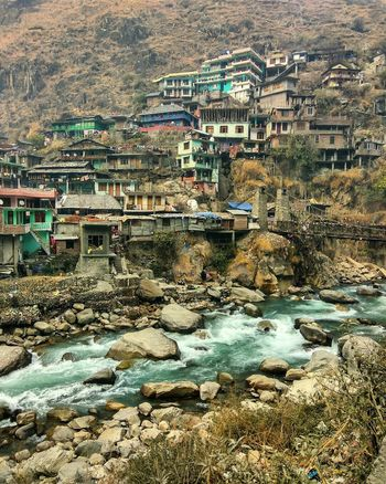 Water Day Outdoors No People Mountain Architecture Building Exterior Built Structure Nature Manikaran Shimla Manali River Mountain Nodslrneeded HDR Freshness Ancient Travel Tree Landscape The Photojournalist - 2017 EyeEm Awards Nomen Houses