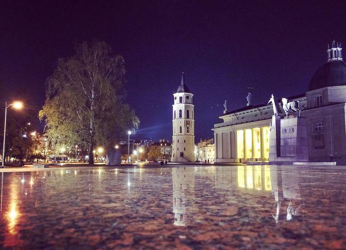 Night Architecture No People City Reflection Illuminated Vilnius Vilniusatnight
