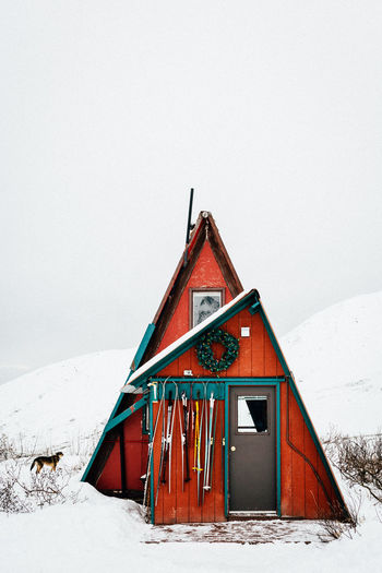 A-frame Hatcher's Pass, AK Skiing Winter In Alaska Architecture Building Building Exterior Built Structure Cabin Clear Sky Cold Temperature Copy Space Cottage Day Hatcher Pass House Hut Landscape Nature No People Outdoors Skiis Sky Snow Winter