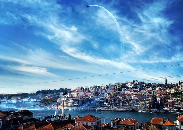 Porto, Portugal. Cloud - Sky Flying Blue Airshow Outdoors Duoro River Porto Portugal 🇵🇹 EyeEmNewHere Lost In The Landscape
